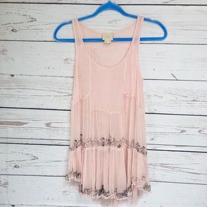 Anthropologie Vanessa Virginia blush pink tunic